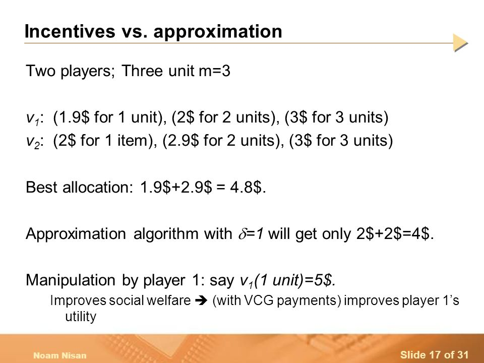 Slide 17 of 31 Noam Nisan Incentives vs.