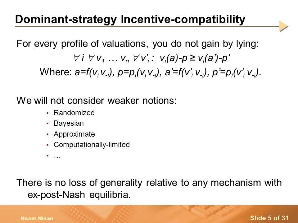 Slide 16 of 31 Noam Nisan Computational Status: Approximation Knapsack has an FPTAS – works in general: 1.