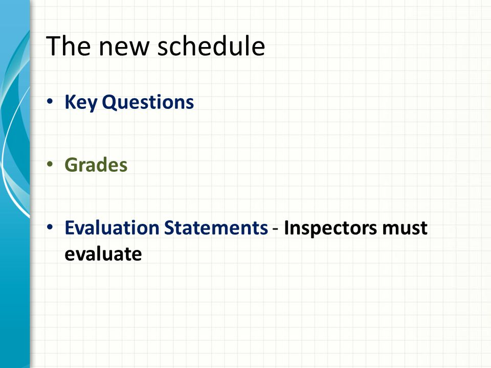 The new schedule Key Questions Grades Evaluation Statements - Inspectors must evaluate