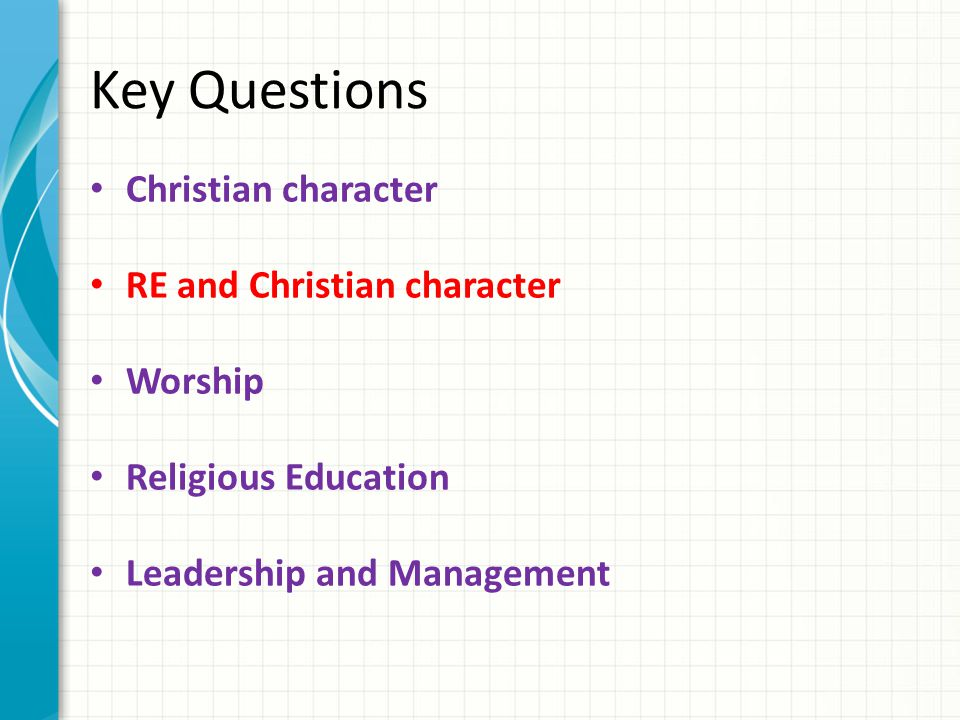 Key Questions Christian character RE and Christian character Worship Religious Education Leadership and Management