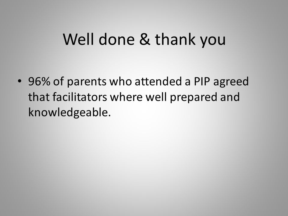Well done & thank you 96% of parents who attended a PIP agreed that facilitators where well prepared and knowledgeable.