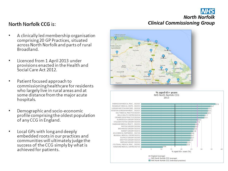 North Norfolk CCG is: A clinically led membership organisation comprising 20 GP Practices, situated across North Norfolk and parts of rural Broadland.