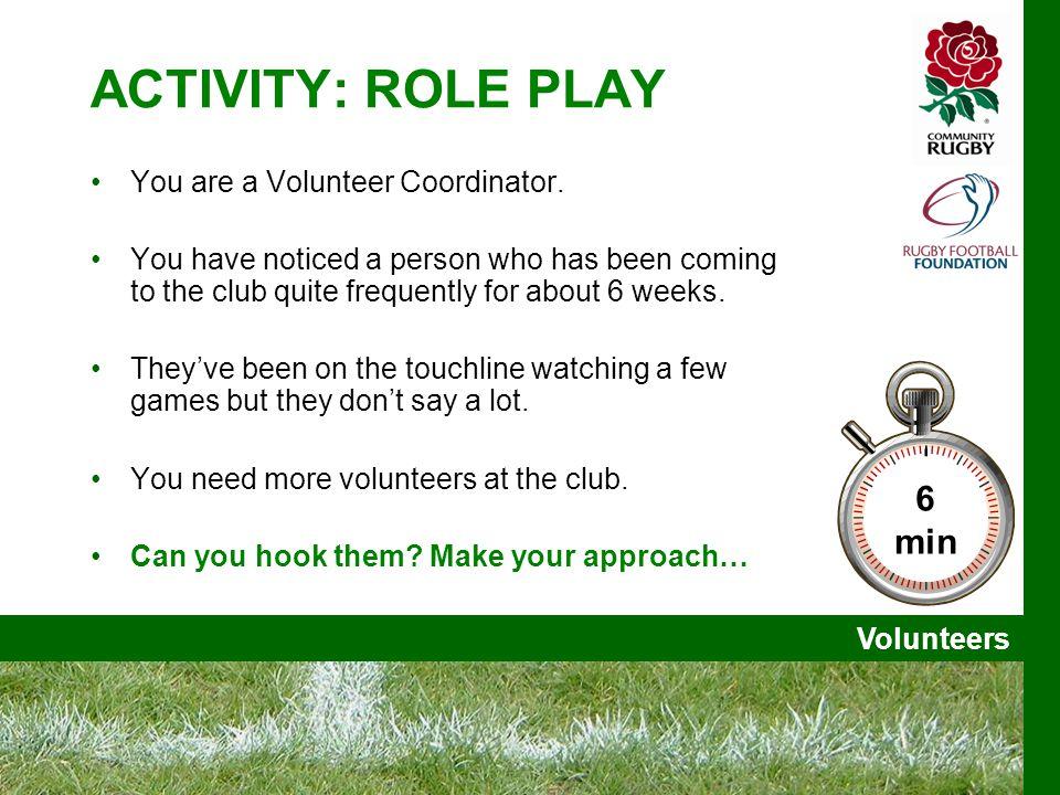 Volunteers ACTIVITY: ROLE PLAY You are a Volunteer Coordinator.