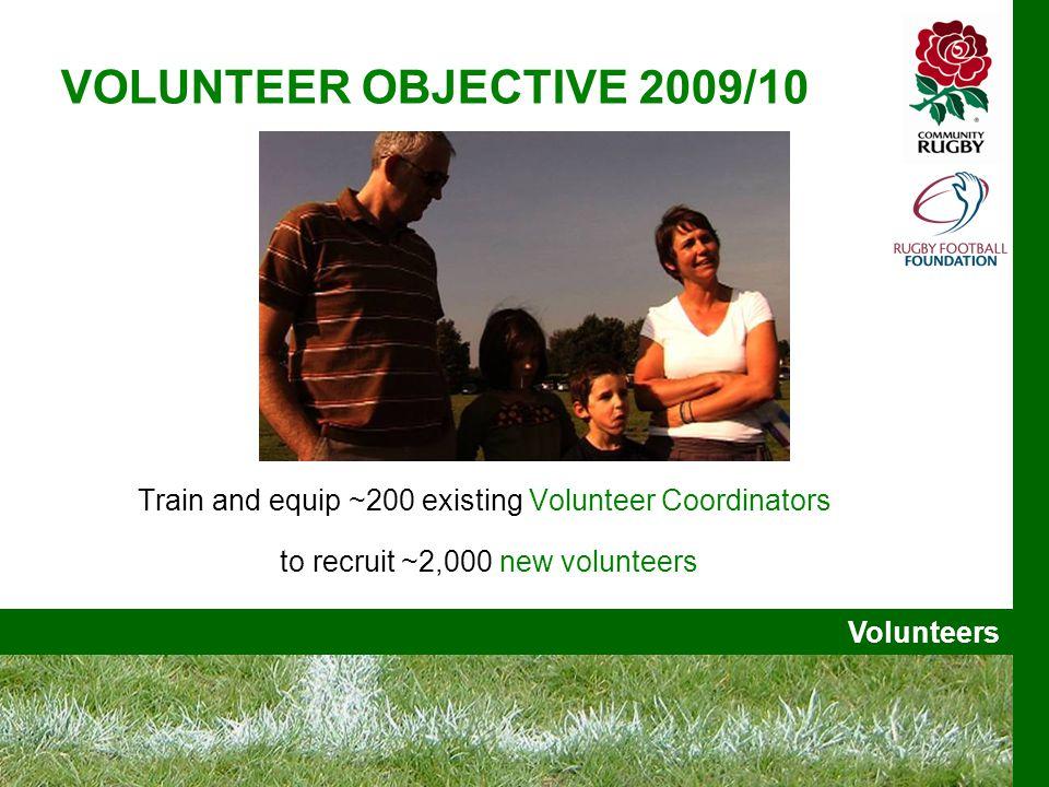 Volunteers VOLUNTEER OBJECTIVE 2009/10 Train and equip ~200 existing Volunteer Coordinators to recruit ~2,000 new volunteers