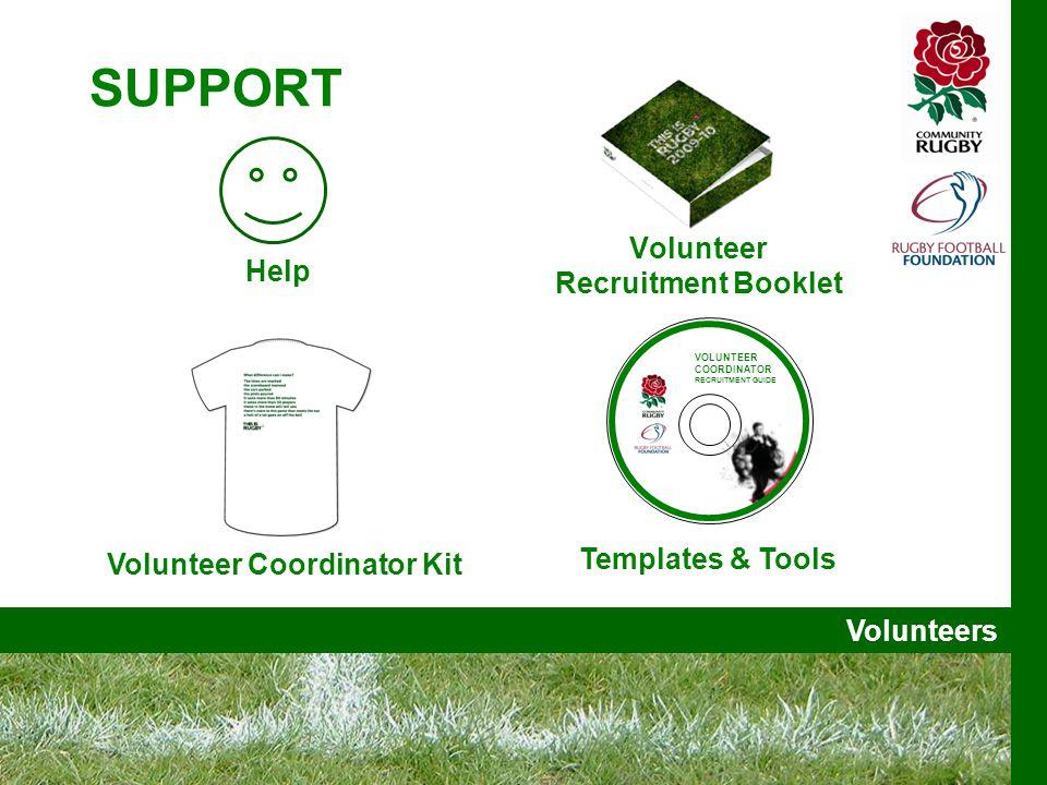Volunteers SUPPORT Volunteer Recruitment Booklet Help Templates & Tools VOLUNTEER COORDINATOR RECRUITMENT GUIDE Volunteer Coordinator Kit