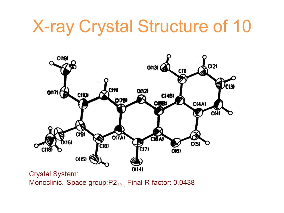 X-ray Crystal Structure of 10 Crystal System: Monoclinic.