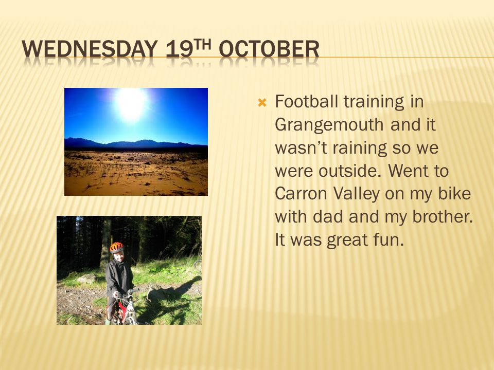  Football training in Grangemouth and it wasn't raining so we were outside.