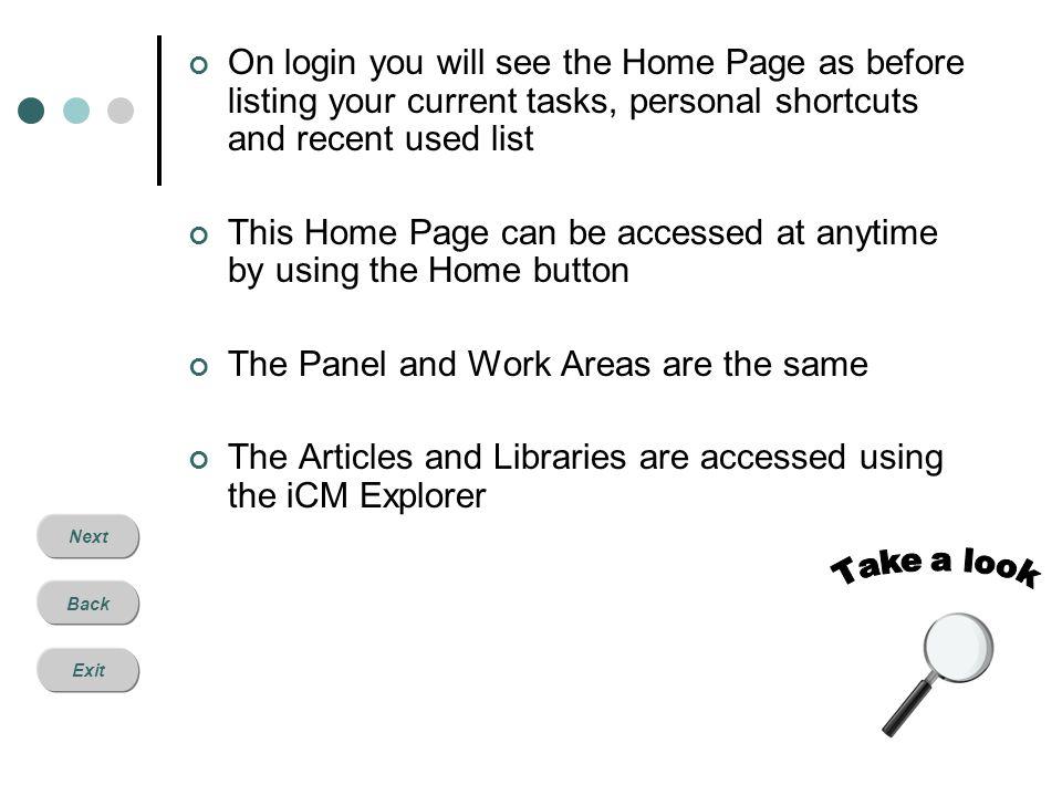 Next Back Exit Home Tasks Shortcuts Recent used Panel Work Area Explorer