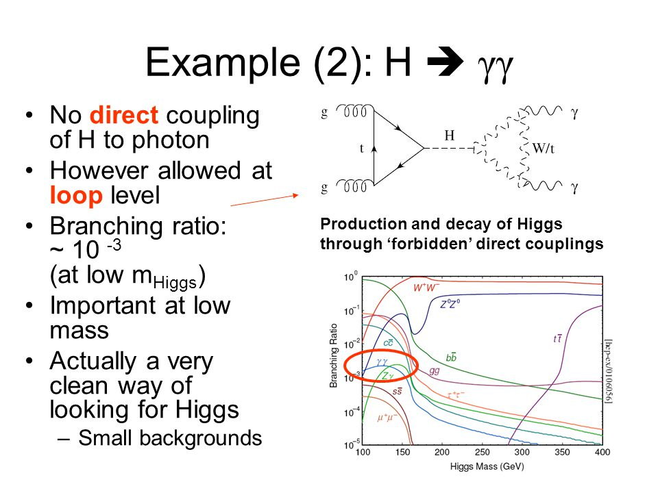 Example (2): H  γγ No direct coupling of H to photon However allowed at loop level Branching ratio: ~ 10 -3 (at low m Higgs ) Important at low mass A