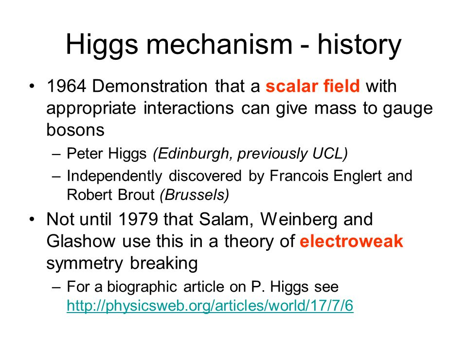 Higgs mechanism: why needed.Example of P.