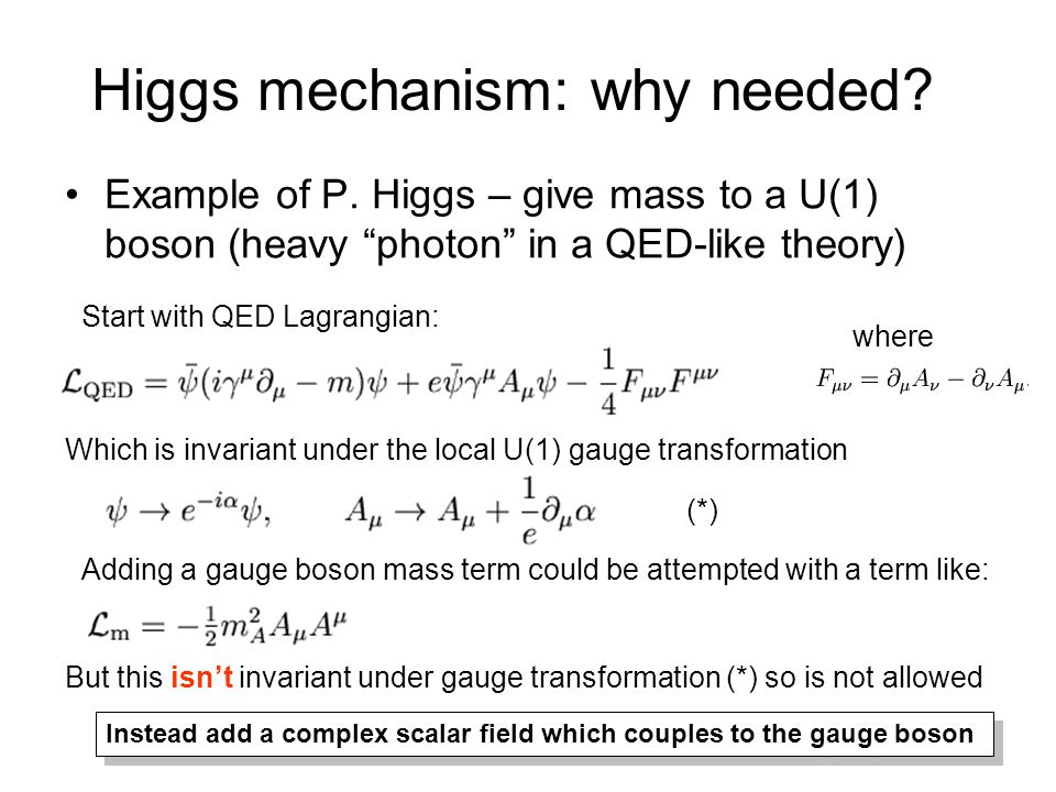 """Higgs mechanism: why needed? Example of P. Higgs – give mass to a U(1) boson (heavy """"photon"""" in a QED-like theory) Start with QED Lagrangian: Which is"""
