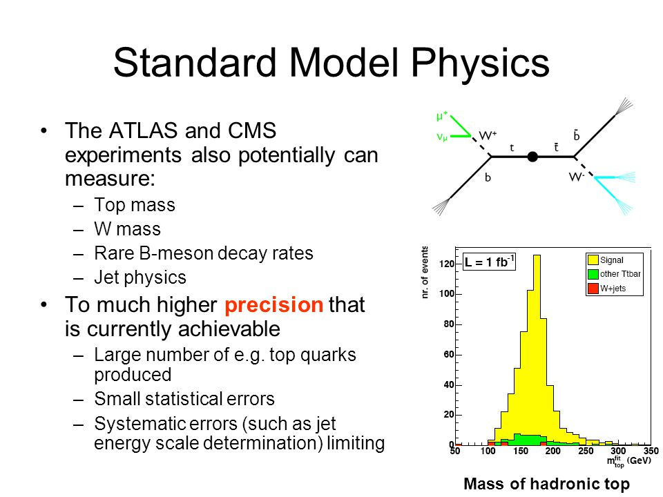 Standard Model Physics The ATLAS and CMS experiments also potentially can measure: –Top mass –W mass –Rare B-meson decay rates –Jet physics To much hi