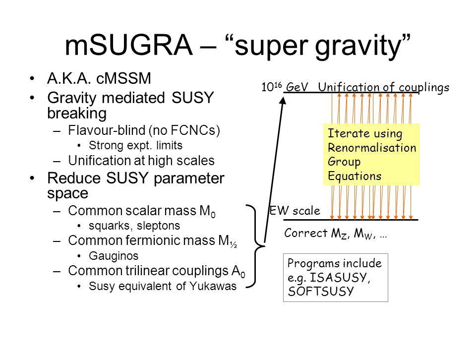 """mSUGRA – """"super gravity"""" A.K.A. cMSSM Gravity mediated SUSY breaking –Flavour-blind (no FCNCs) Strong expt. limits –Unification at high scales Reduce"""