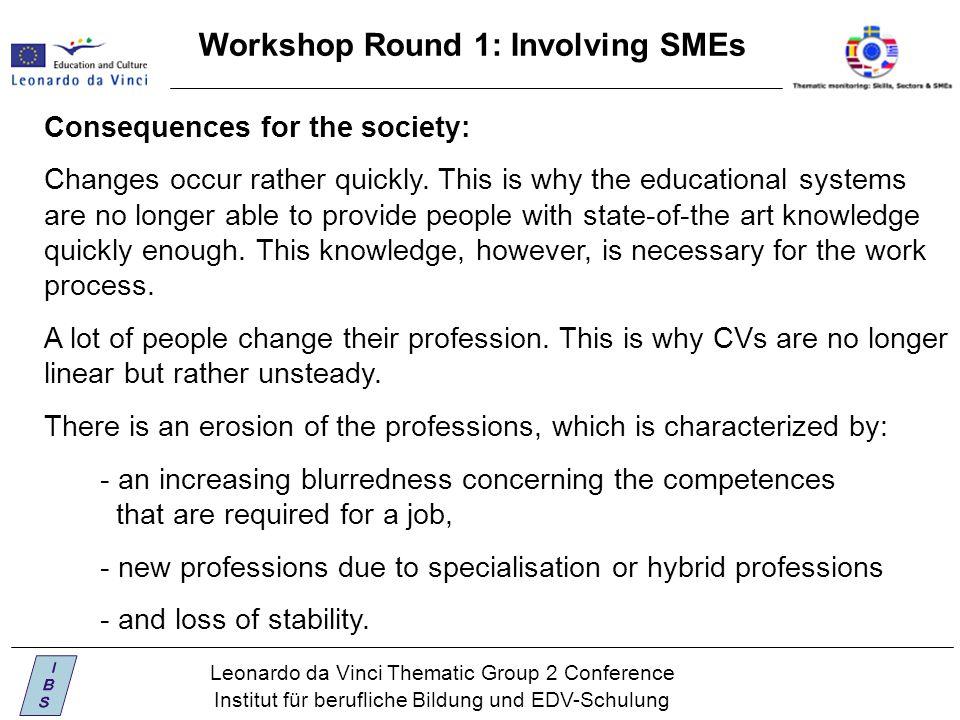 Leonardo da Vinci Thematic Group 2 Conference Institut für berufliche Bildung und EDV-Schulung Workshop Round 1: Involving SMEs Consequences for the society: Changes occur rather quickly.