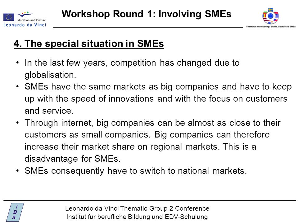 Leonardo da Vinci Thematic Group 2 Conference Institut für berufliche Bildung und EDV-Schulung Workshop Round 1: Involving SMEs 4.
