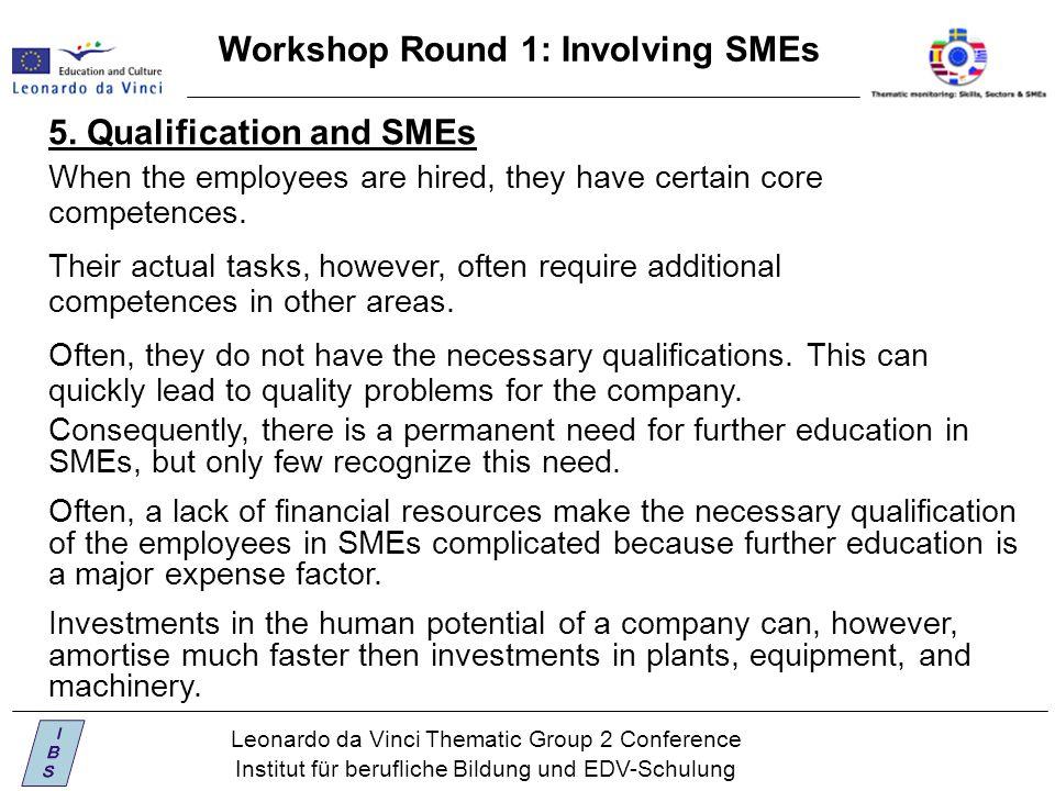Leonardo da Vinci Thematic Group 2 Conference Institut für berufliche Bildung und EDV-Schulung Workshop Round 1: Involving SMEs When the employees are hired, they have certain core competences.