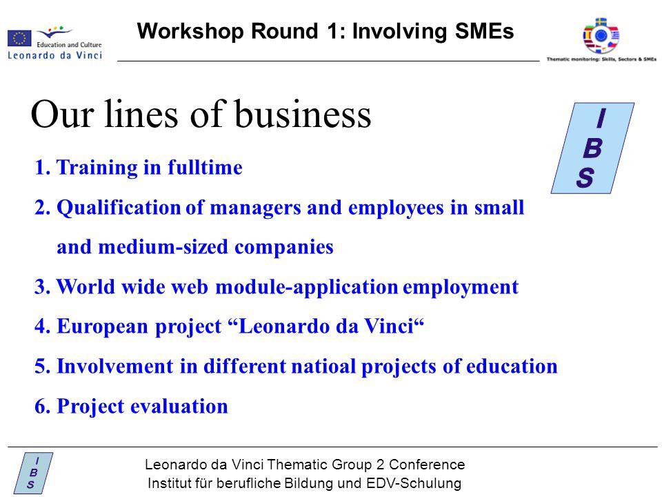 Leonardo da Vinci Thematic Group 2 Conference Institut für berufliche Bildung und EDV-Schulung Workshop Round 1: Involving SMEs Our lines of business 1.