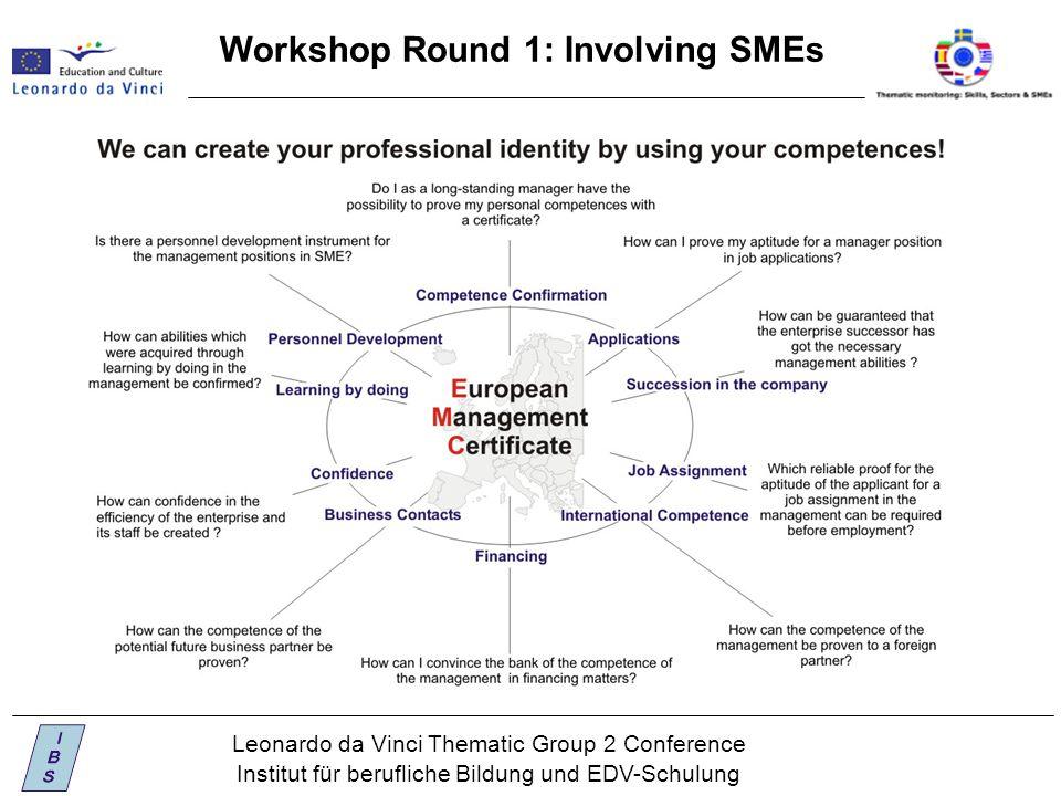 Leonardo da Vinci Thematic Group 2 Conference Institut für berufliche Bildung und EDV-Schulung Workshop Round 1: Involving SMEs