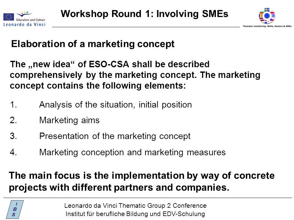 "Leonardo da Vinci Thematic Group 2 Conference Institut für berufliche Bildung und EDV-Schulung Workshop Round 1: Involving SMEs The ""new idea of ESO-CSA shall be described comprehensively by the marketing concept."