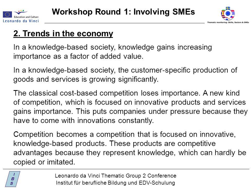 Leonardo da Vinci Thematic Group 2 Conference Institut für berufliche Bildung und EDV-Schulung Workshop Round 1: Involving SMEs 2.