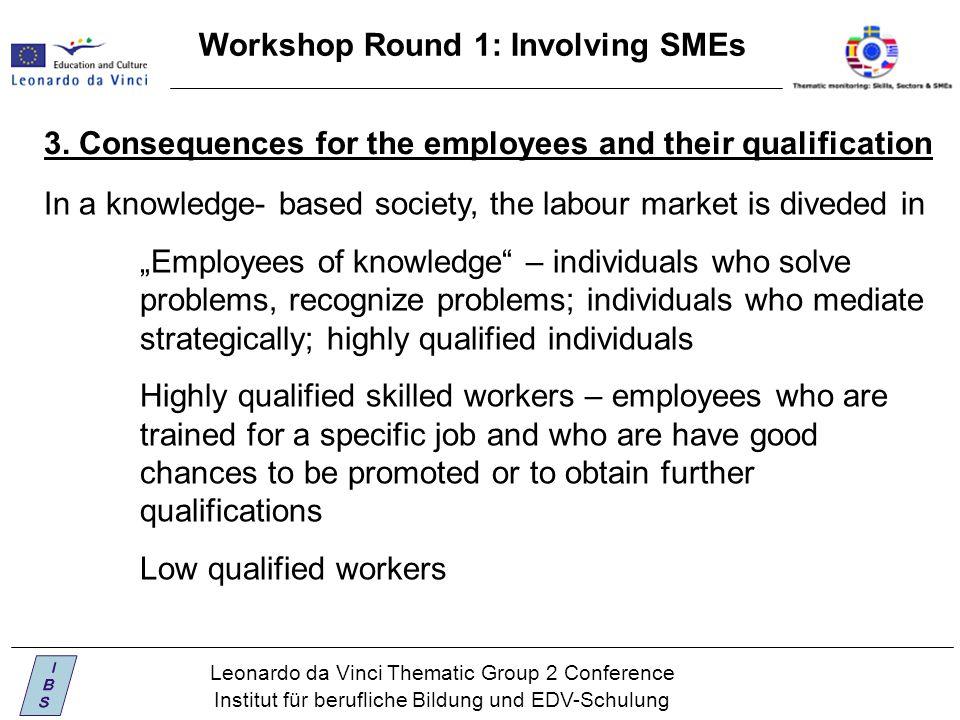 Leonardo da Vinci Thematic Group 2 Conference Institut für berufliche Bildung und EDV-Schulung Workshop Round 1: Involving SMEs 3.