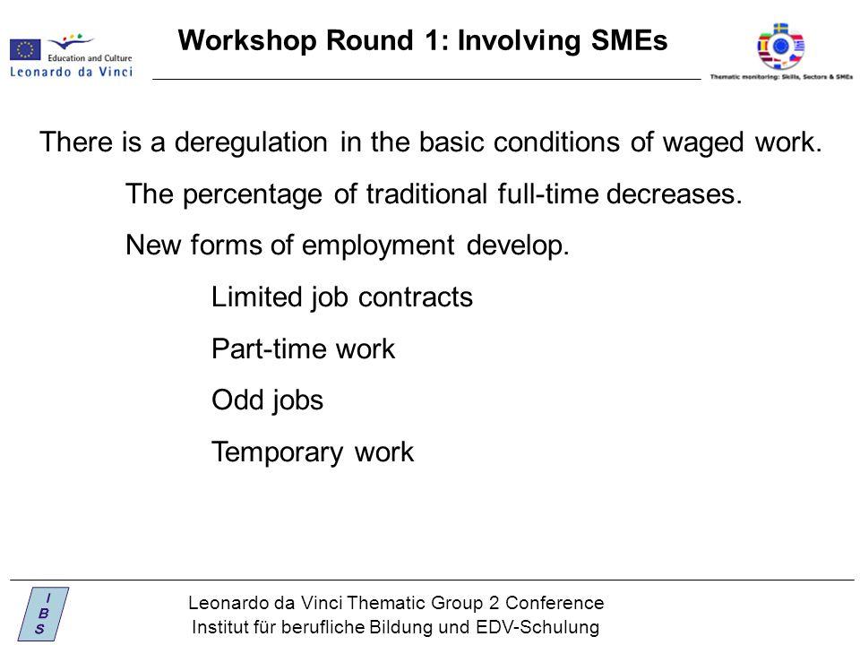Leonardo da Vinci Thematic Group 2 Conference Institut für berufliche Bildung und EDV-Schulung Workshop Round 1: Involving SMEs There is a deregulation in the basic conditions of waged work.