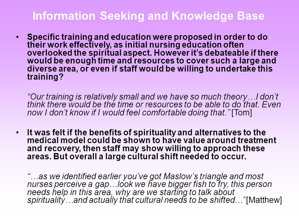 Information Seeking and Knowledge Base Specific training and education were proposed in order to do their work effectively, as initial nursing education often overlooked the spiritual aspect.