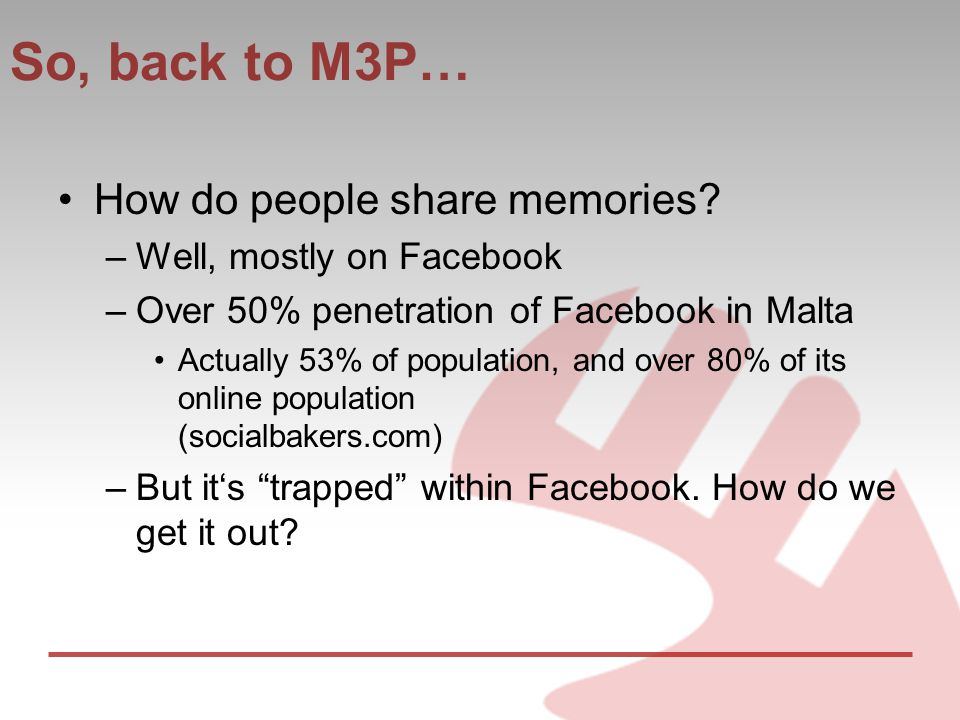 So, back to M3P… How do people share memories.