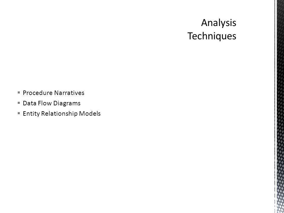 Procedure Narratives  Data Flow Diagrams  Entity Relationship Models