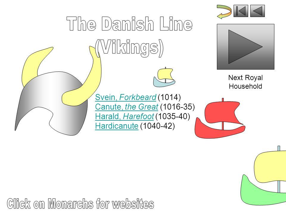 Svein, Forkbeard (1014) Canute, the Great (1016-35) Harald, Harefoot (1035-40) Hardicanute (1040-42)Svein, ForkbeardCanute, the GreatHarald, HarefootHardicanute Next Royal Household