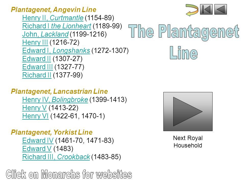 Plantagenet, Angevin Line Henry II, Curtmantle (1154-89) Richard I the Lionheart (1189-99) John, Lackland (1199-1216) Henry III (1216-72) Edward I, Longshanks (1272-1307) Edward II (1307-27) Edward III (1327-77) Richard II (1377-99)Henry II, CurtmantleRichard I the LionheartJohn, LacklandHenry IIIEdward I, LongshanksEdward IIEdward IIIRichard II Plantagenet, Lancastrian Line Henry IV, Bolingbroke (1399-1413) Henry V (1413-22) Henry VI (1422-61, 1470-1)Henry IV, BolingbrokeHenry VHenry VI Plantagenet, Yorkist Line Edward IV (1461-70, 1471-83) Edward V (1483) Richard III, Crookback (1483-85)Edward IVEdward VRichard III, Crookback Next Royal Household