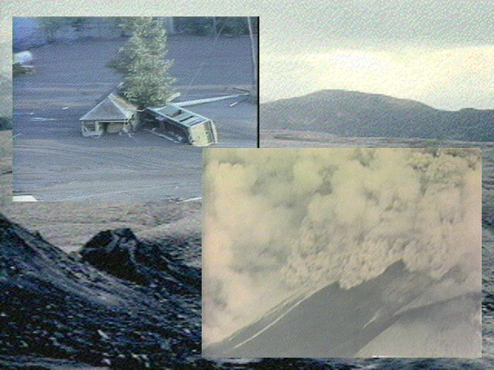 Pyroclastic flows Within a few hours of the blast – hot mixtures of volcanic gas, pumice and ash swept down the north flank of the volcano at speeds of up to 100 miles per hour.