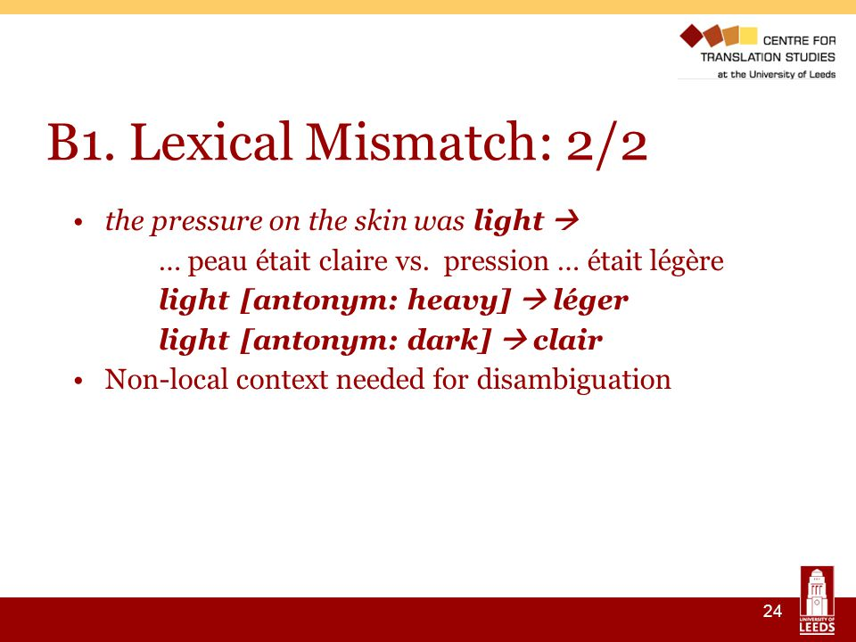24 B1. Lexical Mismatch: 2/2 the pressure on the skin was light  … peau était claire vs.