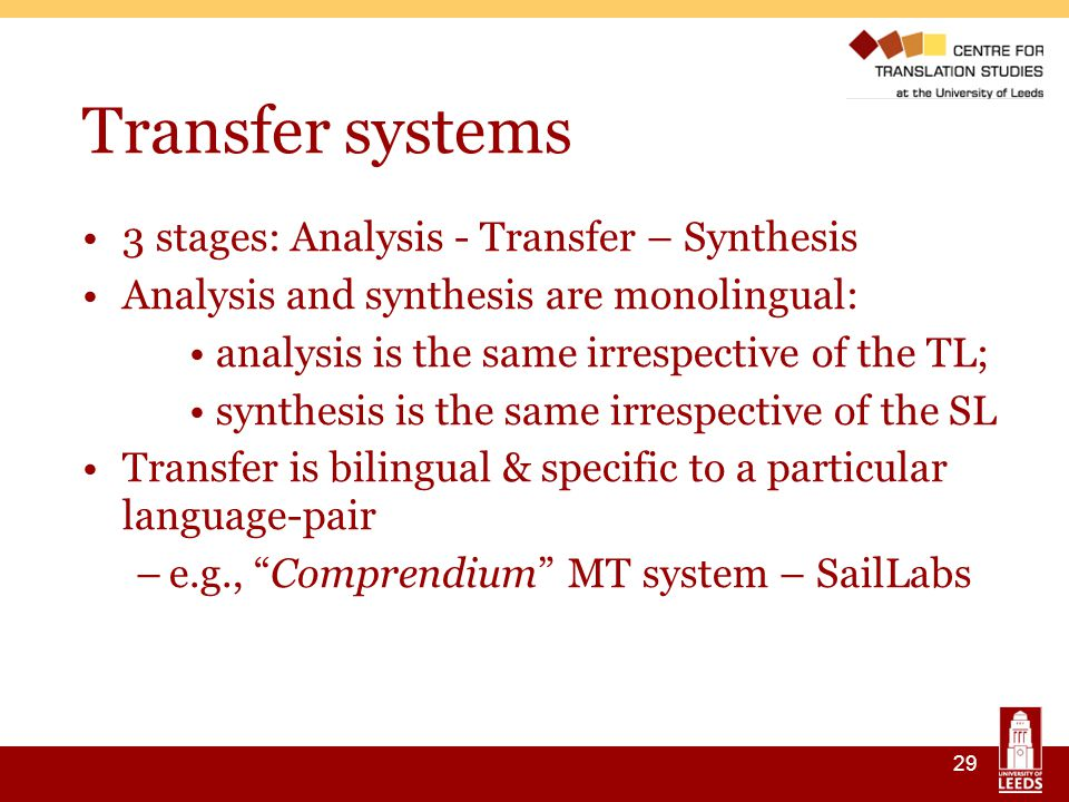29 Transfer systems 3 stages: Analysis - Transfer – Synthesis Analysis and synthesis are monolingual: analysis is the same irrespective of the TL; synthesis is the same irrespective of the SL Transfer is bilingual & specific to a particular language-pair –e.g., Comprendium MT system – SailLabs