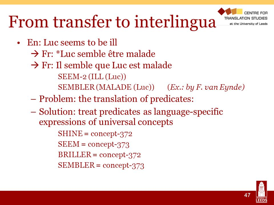 47 From transfer to interlingua En: Luc seems to be ill  Fr: *Luc semble être malade  Fr: Il semble que Luc est malade SEEM-2 (ILL (Luc)) ‏ SEMBLER (MALADE (Luc)) (Ex.: by F.