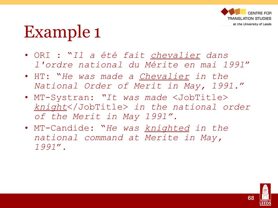 68 Example 1 ORI : Il a été fait chevalier dans l ordre national du Mérite en mai 1991 HT: He was made a Chevalier in the National Order of Merit in May, 1991. MT-Systran: It was made knight in the national order of the Merit in May 1991 .
