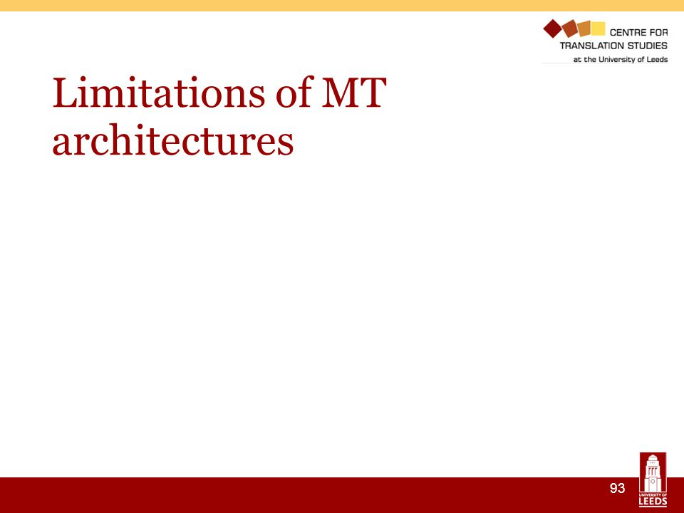 93 Limitations of MT architectures