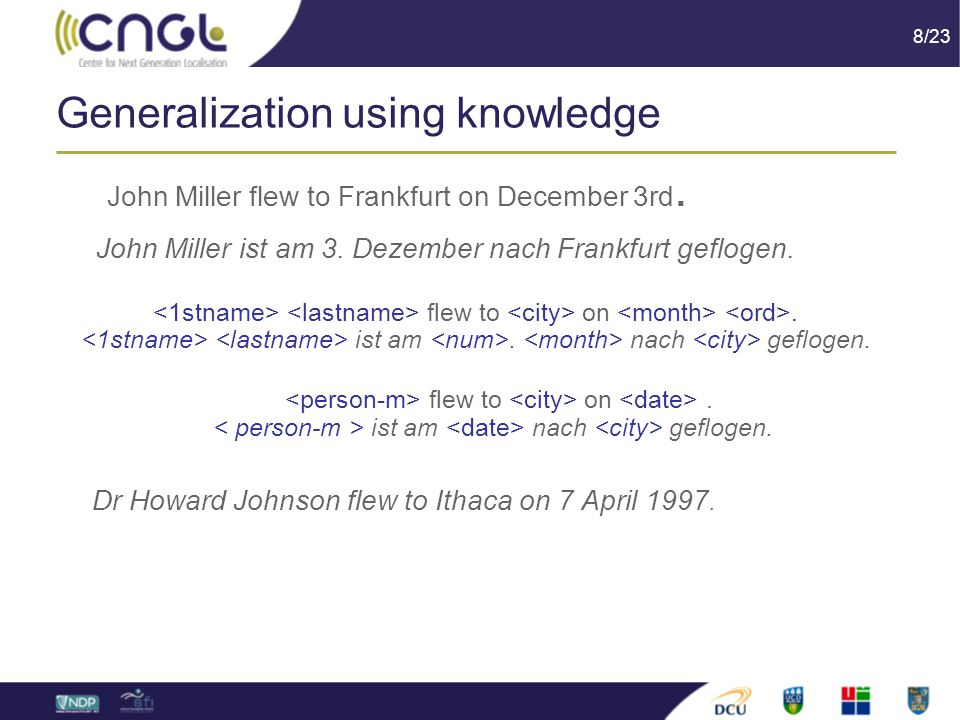 8/23 Generalization using knowledge John Miller flew to Frankfurt on December 3rd.