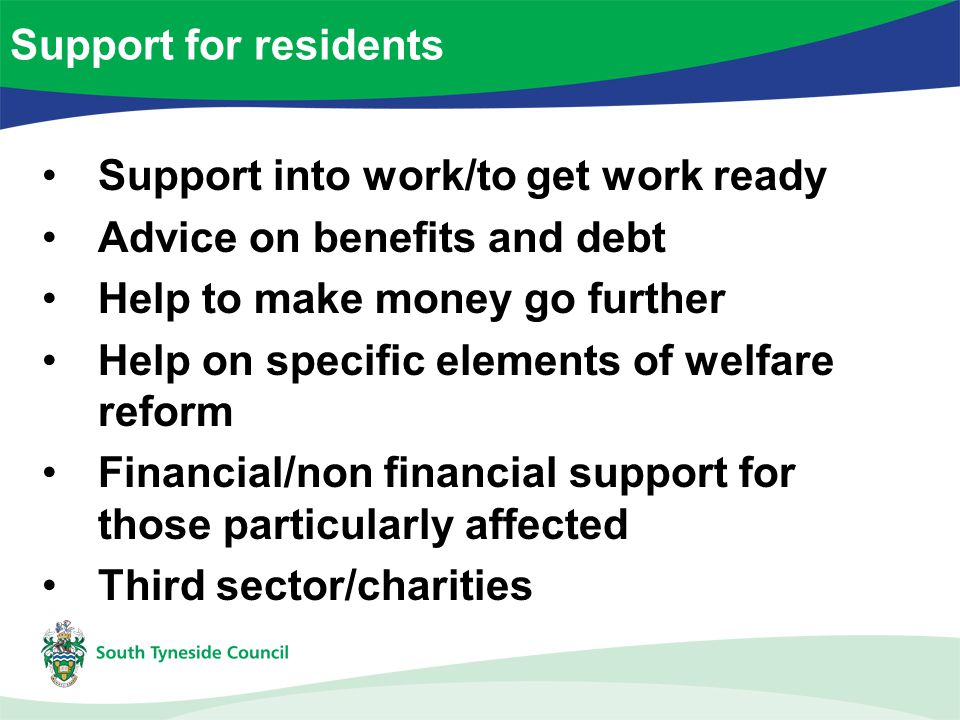 Support into work/to get work ready Advice on benefits and debt Help to make money go further Help on specific elements of welfare reform Financial/non financial support for those particularly affected Third sector/charities Support for residents