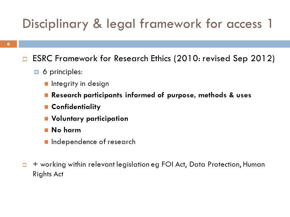 Disciplinary & legal framework for access 1  ESRC Framework for Research Ethics (2010: revised Sep 2012)  6 principles: Integrity in design Research