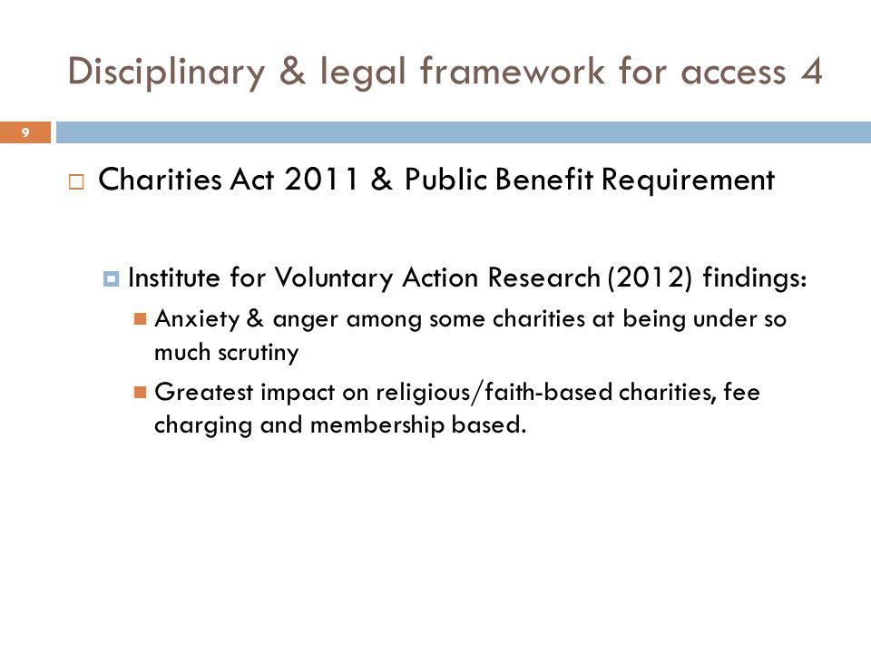 Disciplinary & legal framework for access 4  Charities Act 2011 & Public Benefit Requirement  Institute for Voluntary Action Research (2012) finding