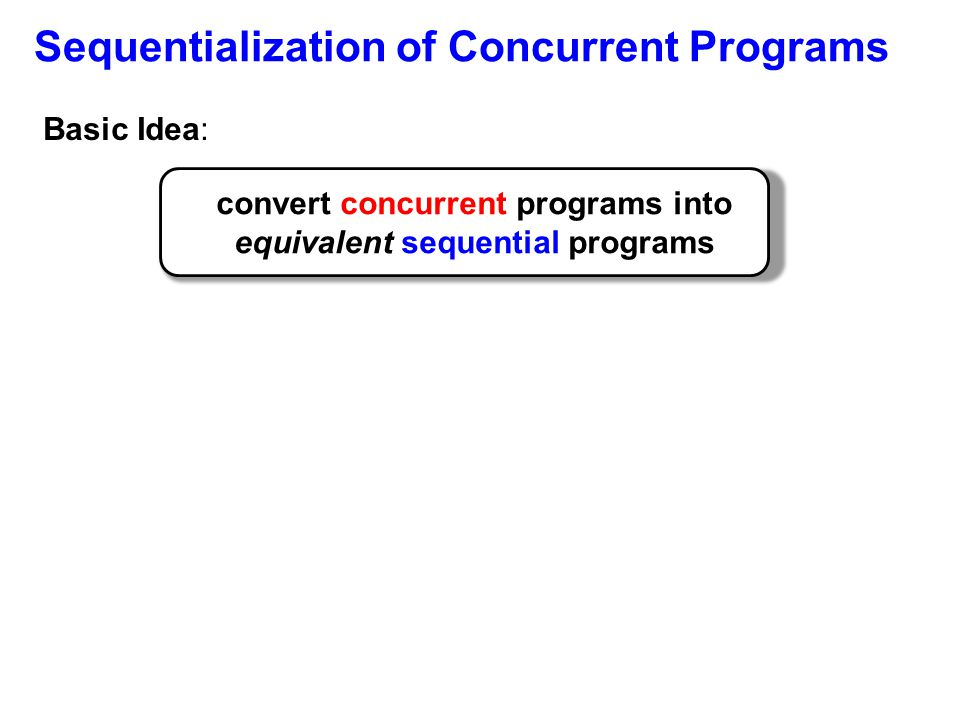 Sequentialization of Concurrent Programs Basic Idea: convert concurrent programs into equivalent sequential programs