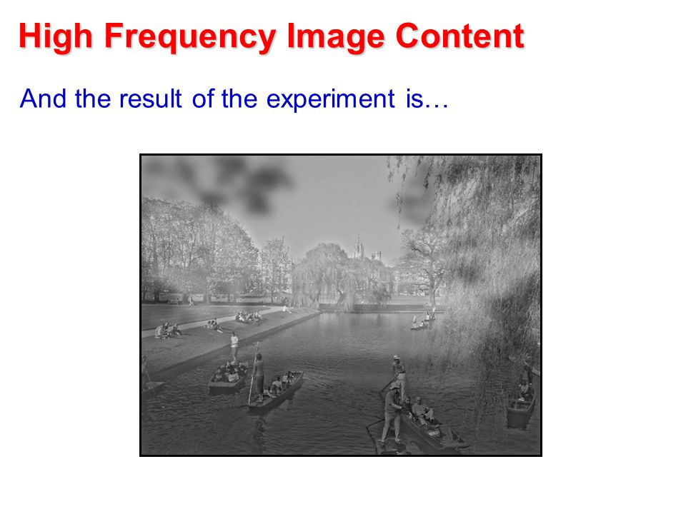 High Frequency Image Content And the result of the experiment is…