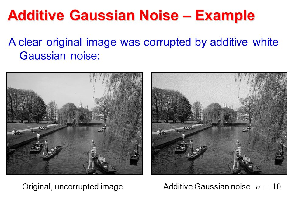 Additive Gaussian Noise – Example A clear original image was corrupted by additive white Gaussian noise: Original, uncorrupted imageAdditive Gaussian noise