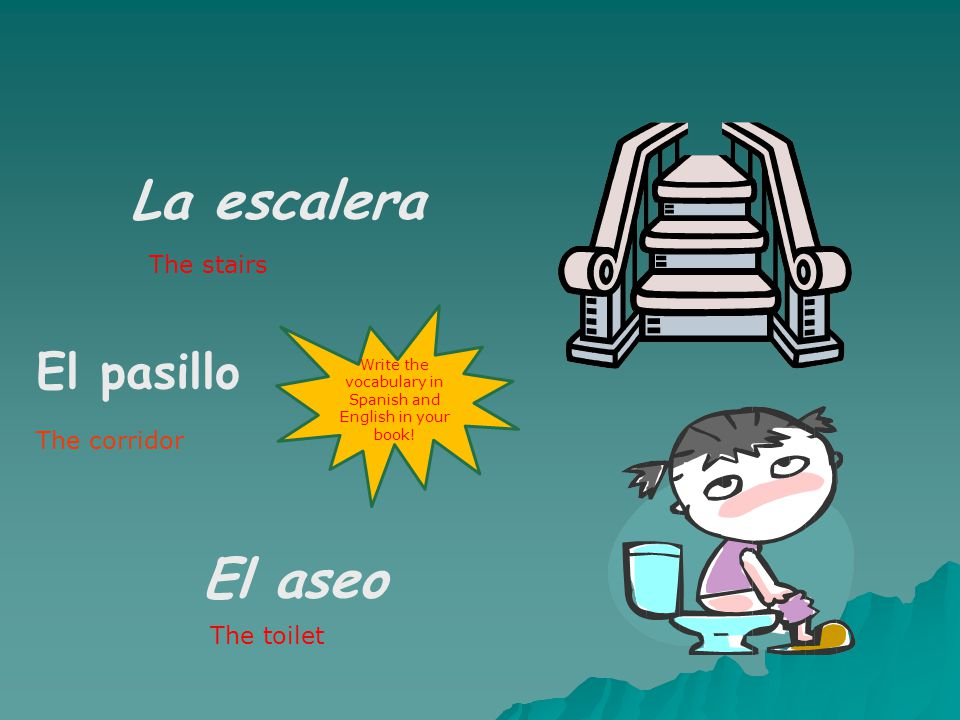 la sala de estar el comedor The living room The dining room Write the vocabulary in Spanish and English in your book!