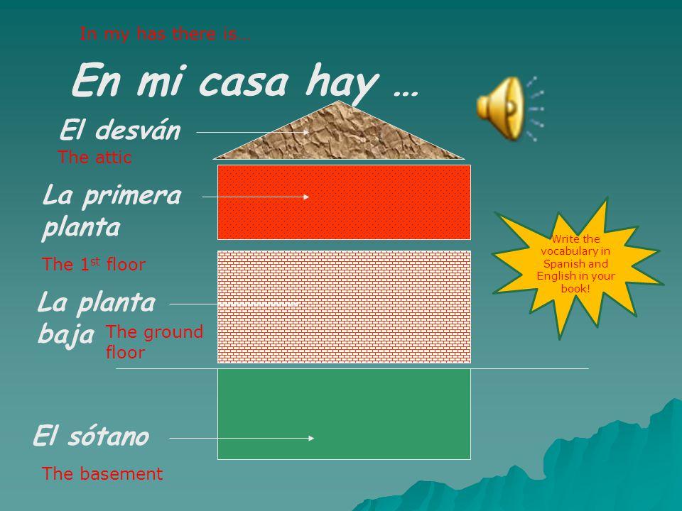 En mi casa hay … El sótano La planta baja La primera planta El desván In my has there is… The attic The 1 st floor The ground floor The basement Write the vocabulary in Spanish and English in your book!