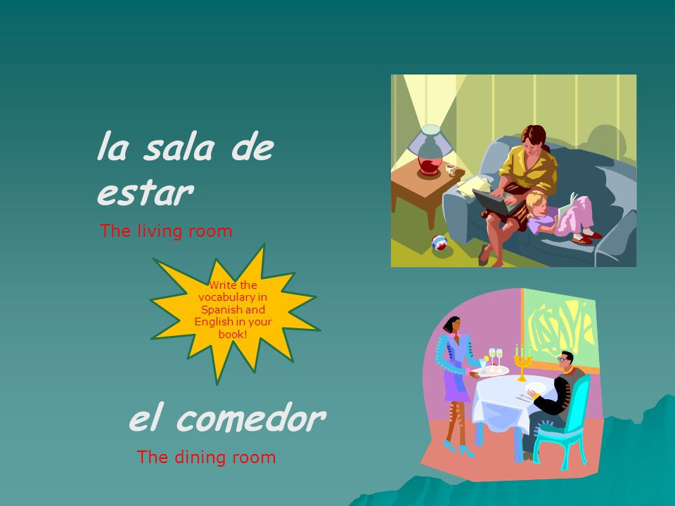 En la planta baja hay La cocina On the ground floor there is… The kitchen Write the vocabulary in Spanish and English in your book!