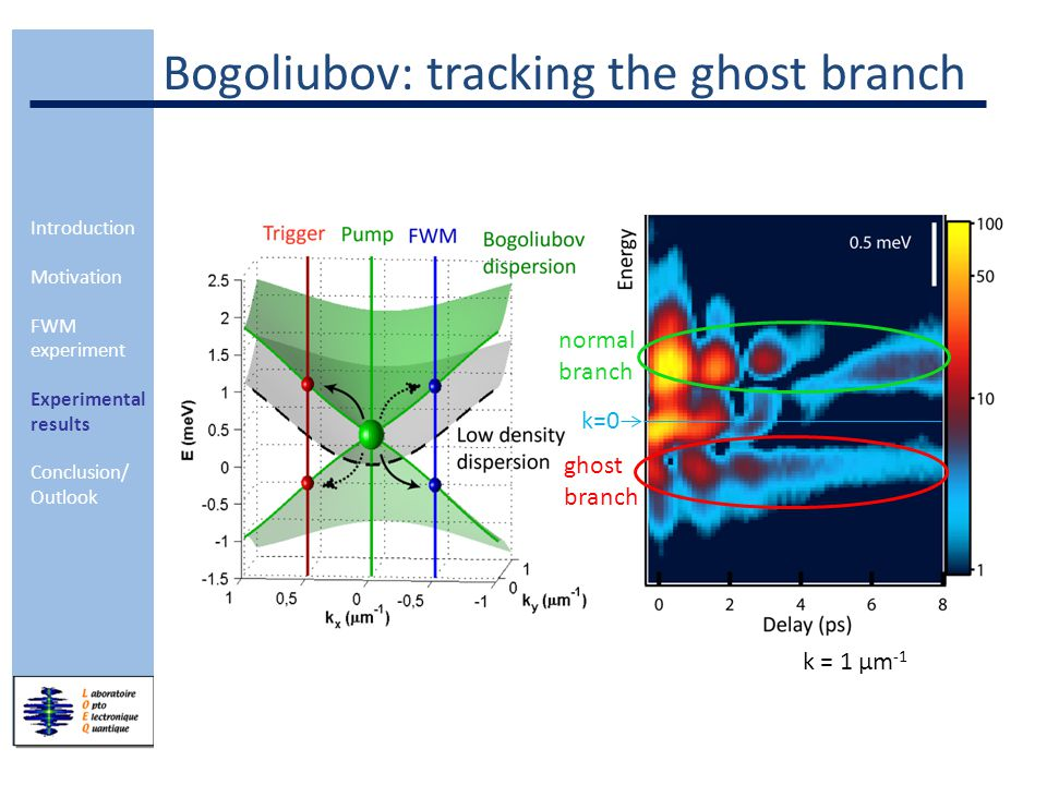 Introduction Motivation FWM experiment Experimental results Conclusion/ Outlook Dispersion of the Bogoliubov excitations evolution in k of the different branches: (delay integration between 5 – 6 ps) Gross-Pitaevskii equations: Equation for excitons: Equation for cavity photons:  x/p = exciton/photon wavefunction g = exciton-exciton interaction potential  x/p = decay rate of excitons/photons  R = Rabi splitting F(r,t)= pump laser field