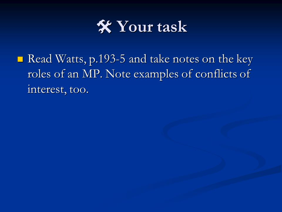  Your task Read Watts, p.193-5 and take notes on the key roles of an MP.