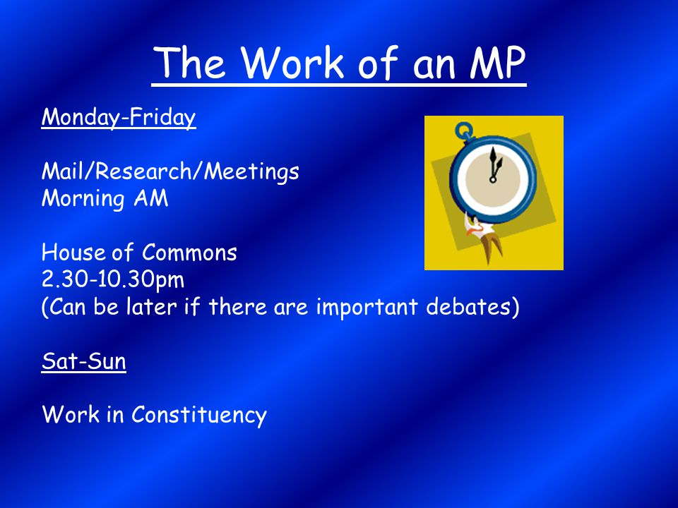 The Work of an MP Monday-Friday Mail/Research/Meetings Morning AM House of Commons 2.30-10.30pm (Can be later if there are important debates) Sat-Sun